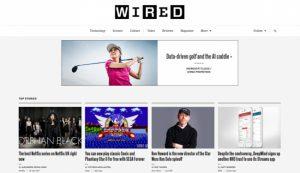 مجله آنلاین WIRED و محل قرار گیری لوگو